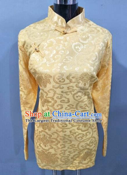 Traditional Chinese National Ethnic Tibetan Yellow Brocade Blouse Zang Nationality Folk Dance Costume for Women