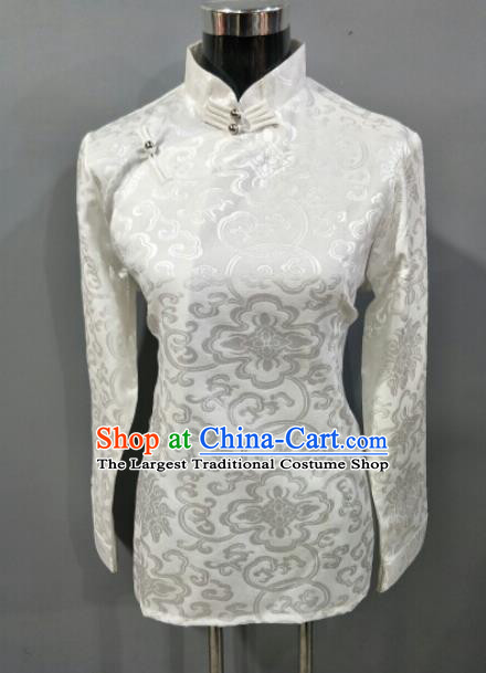 Traditional Chinese National Ethnic Tibetan White Brocade Blouse Zang Nationality Folk Dance Costume for Women