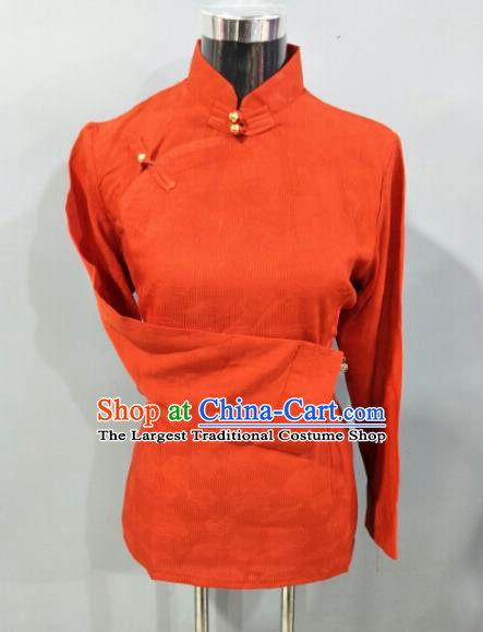 Traditional Chinese National Tibetan Ethnic Orange Blouse Zang Nationality Folk Dance Costume for Women