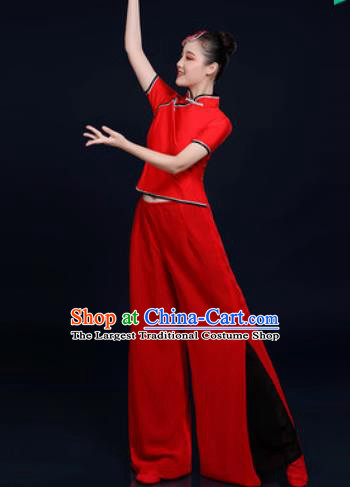Traditional Chinese Folk Dance Red Clothing Yangko Dance Fan Dance Costume for Women