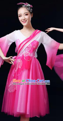 Traditional Chinese Spring Festival Gala Dance Rosy Dress Chorus Modern Dance Costume for Women