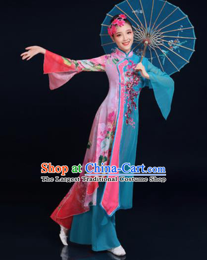Traditional Chinese Classical Dance Blue Dress Umbrella Dance Fan Dance Costume for Women