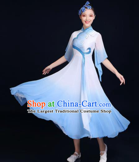Traditional Chinese Classical Dance Light Blue Dress Umbrella Dance Fan Dance Costume for Women