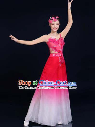 Traditional Chinese Classical Dance Rosy Dress Umbrella Dance Fan Dance Costume for Women