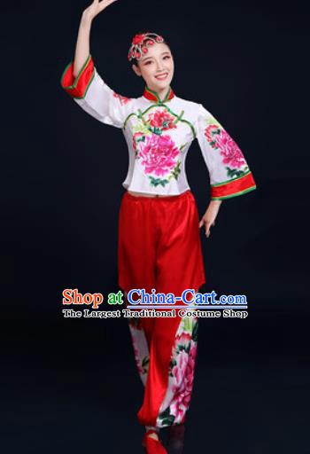 Traditional Chinese Folk Dance Printing Peony Clothing Yangko Dance Fan Dance Costume for Women