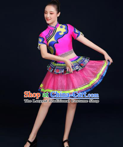Traditional Chinese Ethnic Folk Dance Dress Miao Nationality Stage Performance Costume for Women