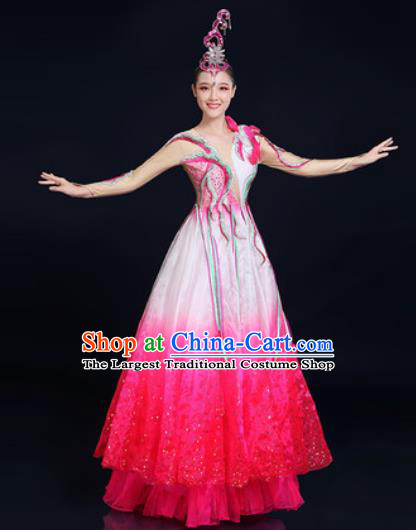 Traditional Chinese Classical Dance Rosy Dress Umbrella Dance Stage Performance Fan Dance Costume for Women