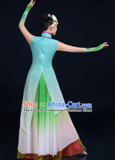Traditional Chinese Classical Dance Green Dress Umbrella Dance Stage Performance Fan Dance Costume for Women