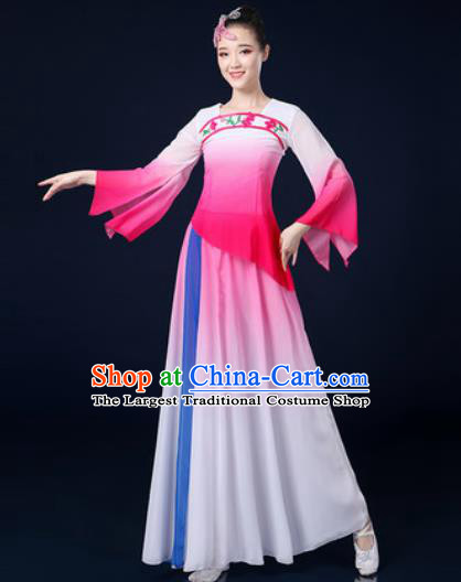 Traditional Chinese Classical Dance Pink Dress Umbrella Dance Stage Performance Costume for Women