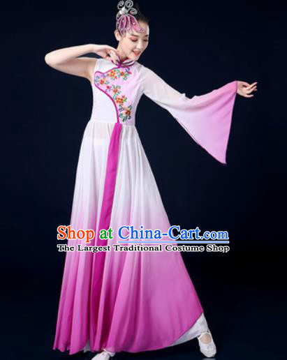 Chinese Traditional Classical Dance Purple Dress Umbrella Dance Stage Performance Costume for Women