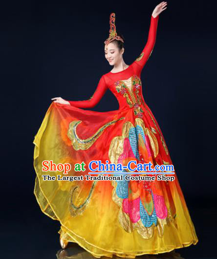 Traditional Chinese Spring Festival Gala Opening Dance Red Dress Chorus Modern Dance Costume for Women