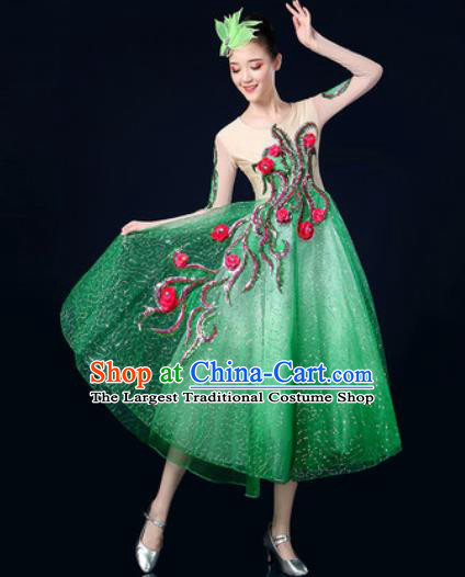 Traditional Chinese Spring Festival Gala Opening Dance Green Veil Dress Chorus Modern Dance Costume for Women