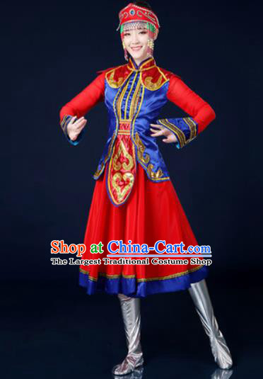 Traditional Chinese Ethnic Dance Red Dress Mongolian Nationality Stage Performance Costume for Women