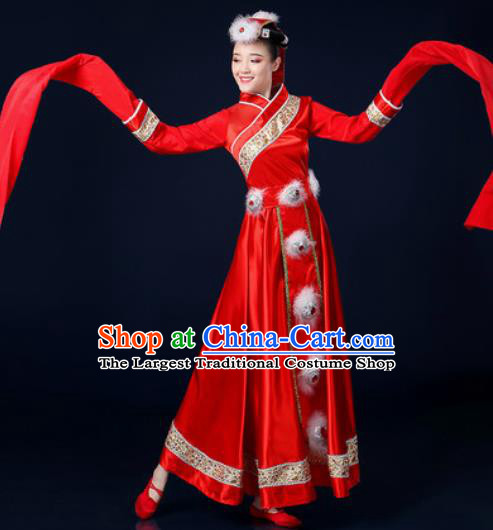 Traditional Chinese Tibetan Ethnic Dance Red Dress Zang Nationality Stage Performance Costume for Women