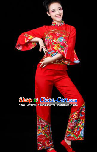 Traditional Chinese Folk Dance Printing Red Clothing Yangko Dance Fan Dance Costume for Women