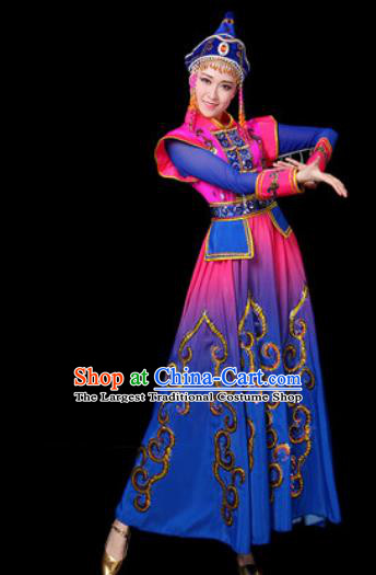 Traditional Chinese Ethnic Dance Blue Dress Mongolian Nationality Stage Performance Costume for Women