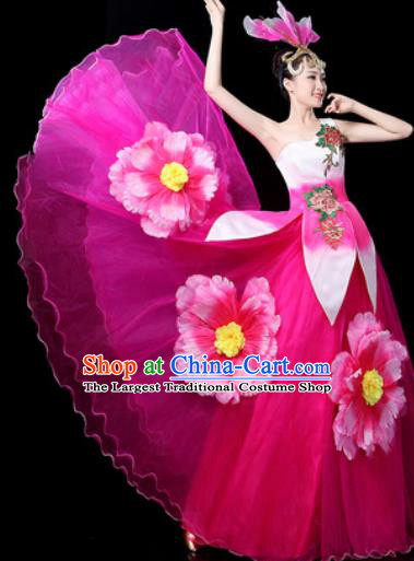 Traditional Chinese Spring Festival Gala Opening Dance Rosy Veil Dress Chorus Modern Dance Costume for Women