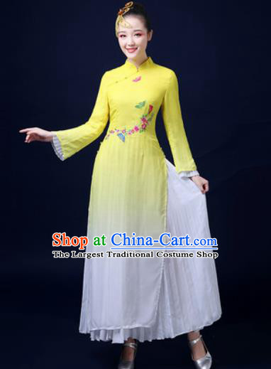 Traditional Chinese Classical Dance Yellow Dress Umbrella Dance Stage Performance Fan Dance Costume for Women