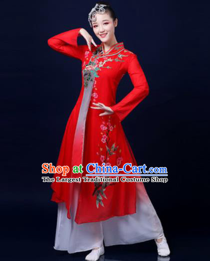 Traditional Chinese Classical Dance Red Dress Umbrella Dance Stage Performance Fan Dance Costume for Women