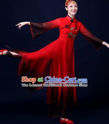 Traditional Chinese Classical Dance Red Dress Umbrella Dance Stage Performance Costume for Women