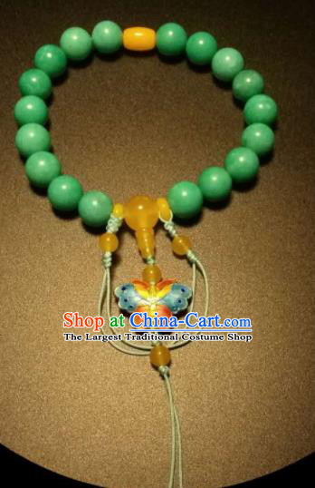 Chinese Traditional Amazonite Beads Bracelet Handmade Hanfu Blueing Butterfly Bangles for Women