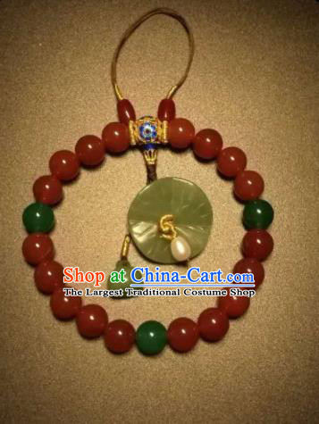 Chinese Traditional Red Agate Beads Bracelet Handmade Hanfu Blueing Bangles for Women