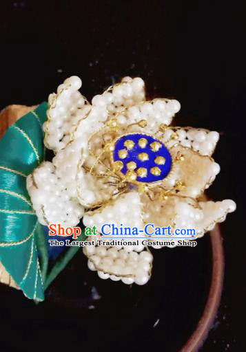 Chinese Traditional Hair Accessories Ancient Palace Handmade Hanfu Beads Lotus Hairpins for Women