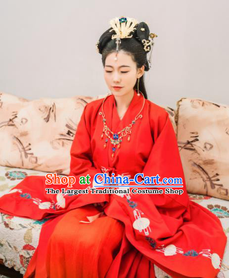 Traditional Chinese Ming Dynasty Wedding Historical Costumes Ancient Bride Red Hanfu Dress for Women