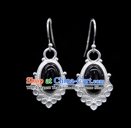 Chinese Traditional Tibetan Ethnic Ear Accessories Zang Nationality Handmade Black Stone Earrings for Women