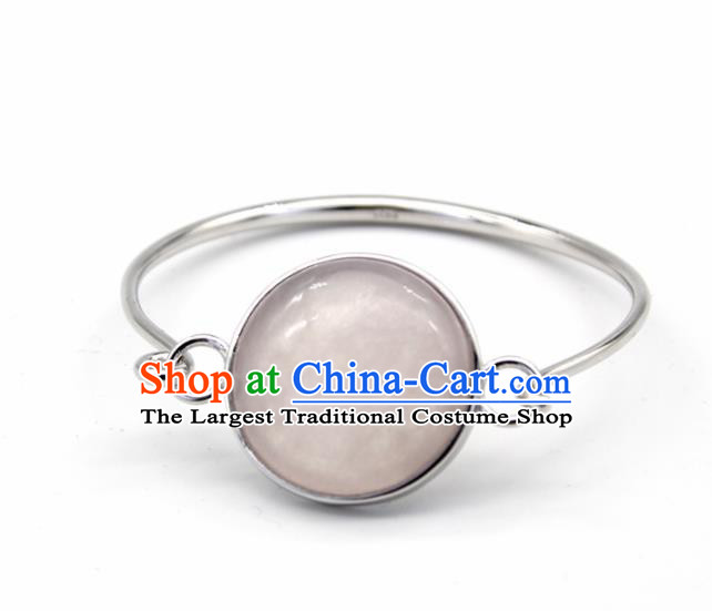 Chinese Traditional Mongolian Ethnic Rose Chalcedony Bracelet Accessories Handmade Mongol Nationality Bangle for Women