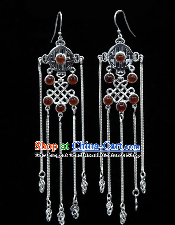 Chinese Traditional Mongolion Ethnic Red Agate Tassel Ear Accessories Mongol Nationality Handmade Earrings for Women