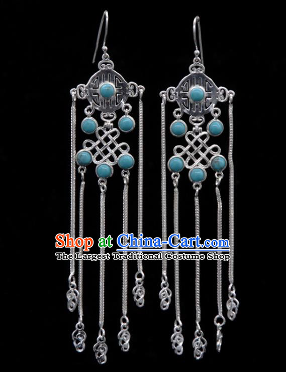 Chinese Traditional Mongolion Ethnic Blue Stone Tassel Ear Accessories Mongol Nationality Handmade Earrings for Women