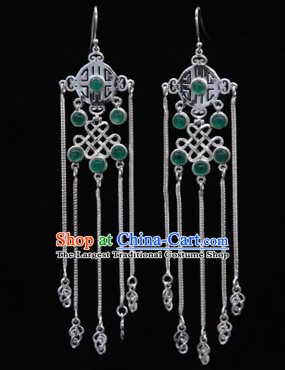 Chinese Traditional Mongolion Ethnic Green Agate Tassel Ear Accessories Mongol Nationality Handmade Earrings for Women