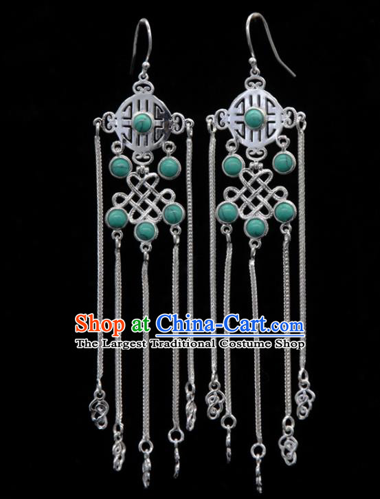 Chinese Traditional Mongolion Ethnic Green Stone Tassel Ear Accessories Mongol Nationality Handmade Earrings for Women
