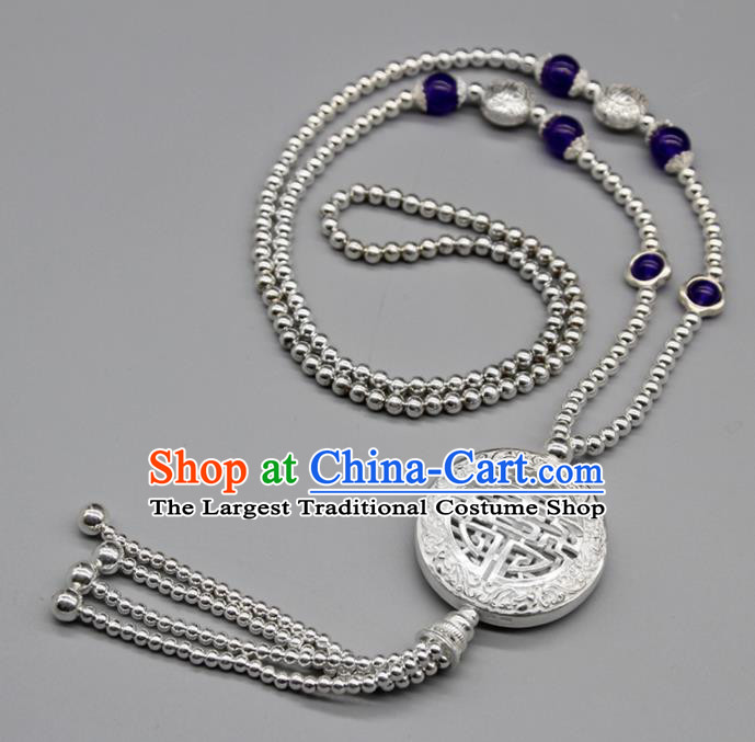 Chinese Traditional Mongolian Ethnic Jewelry Accessories Handmade Mongol Nationality Carving Sliver Necklace for Women