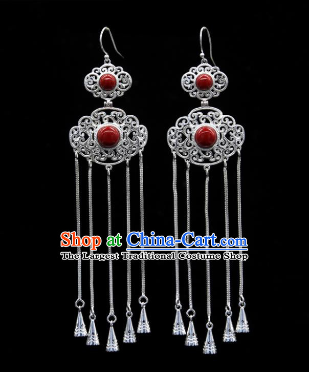 Chinese Traditional Ethnic Ear Accessories Handmade Mongol Nationality Red Stone Tassel Earrings for Women
