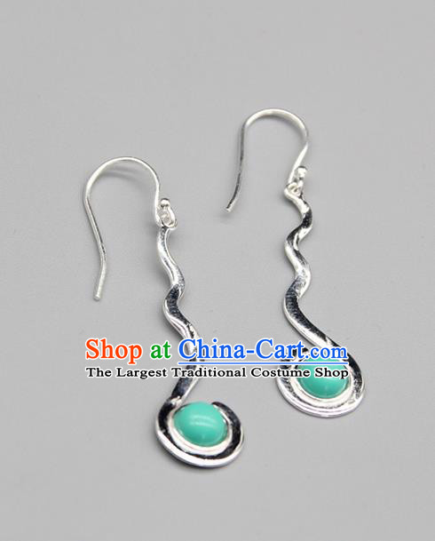 Chinese Traditional Mongolion Ethnic Blue Stone Sliver Ear Accessories Mongol Nationality Handmade Earrings for Women