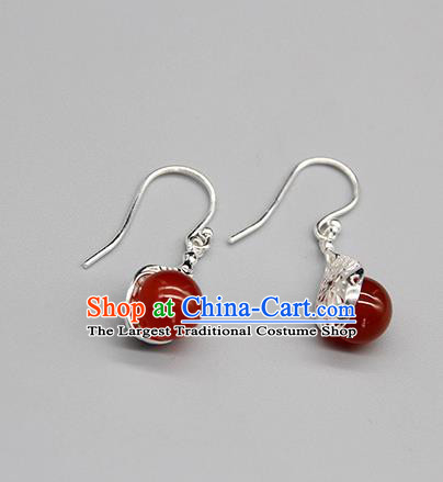 Chinese Traditional Mongolion Ethnic Agate Ear Accessories Mongol Nationality Handmade Earrings for Women