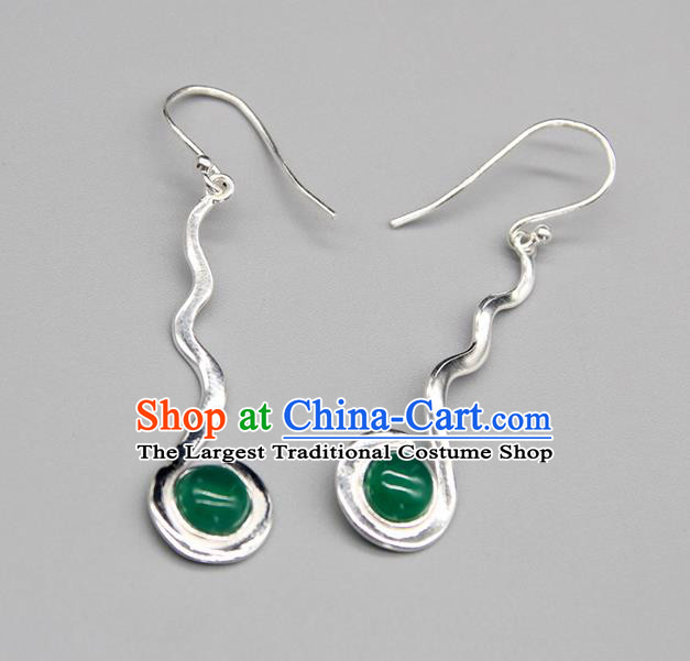 Chinese Traditional Mongolion Ethnic Green Agate Sliver Ear Accessories Mongol Nationality Handmade Earrings for Women