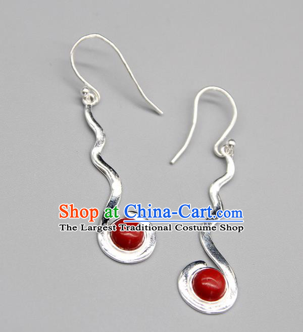 Chinese Traditional Mongolion Ethnic Red Stone Sliver Ear Accessories Mongol Nationality Handmade Earrings for Women
