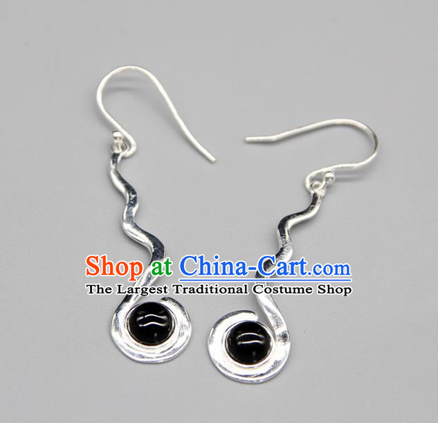 Chinese Traditional Mongolion Ethnic Black Stone Sliver Ear Accessories Mongol Nationality Handmade Earrings for Women