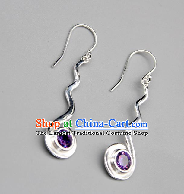 Chinese Traditional Mongolion Ethnic Purple Crystal Sliver Ear Accessories Mongol Nationality Handmade Earrings for Women