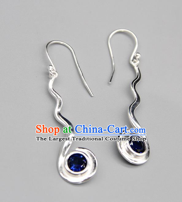 Chinese Traditional Mongolion Ethnic Blue Crystal Sliver Ear Accessories Mongol Nationality Handmade Earrings for Women