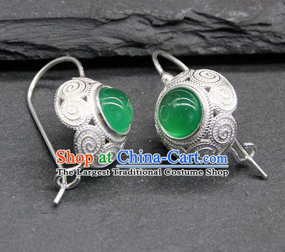 Chinese Traditional Mongolion Ethnic Sliver Carving Ear Accessories Mongol Nationality Green Agate Earrings for Women