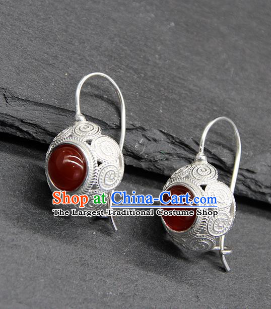 Chinese Traditional Mongolion Ethnic Sliver Carving Ear Accessories Mongol Nationality Agate Earrings for Women