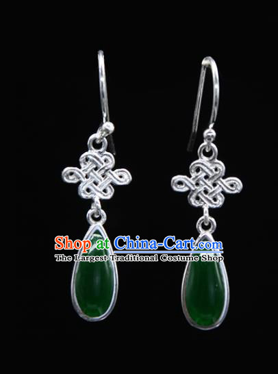 Chinese Traditional Mongolion Ethnic Chinese Knot Ear Accessories Mongol Nationality Green Agate Earrings for Women
