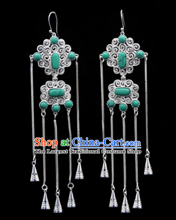 Chinese Traditional Ethnic Wedding Ear Accessories Mongol Nationality Handmade Green Stone Tassel Earrings for Women