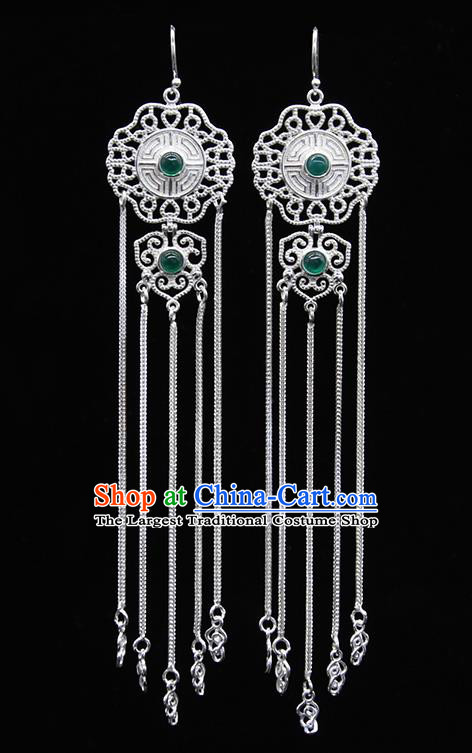 Chinese Traditional Mongolion Ethnic Green Agate Sliver Tassel Ear Accessories Mongol Nationality Earrings for Women