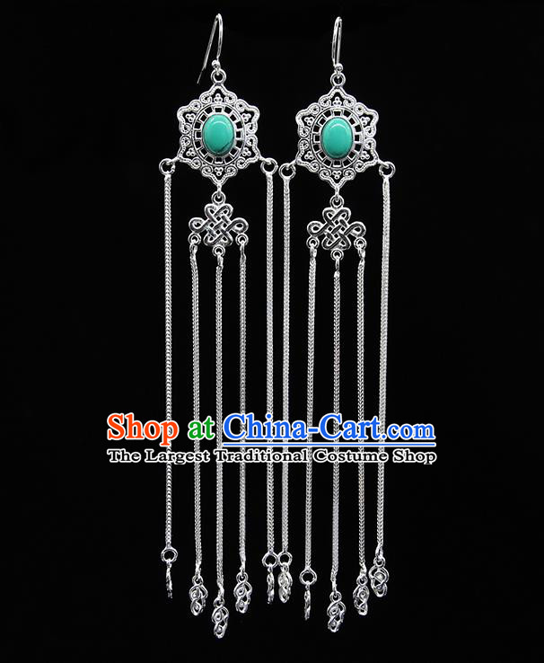 Chinese Traditional Mongolion Ethnic Wedding Sliver Tassel Ear Accessories Mongol Nationality Green Earrings for Women