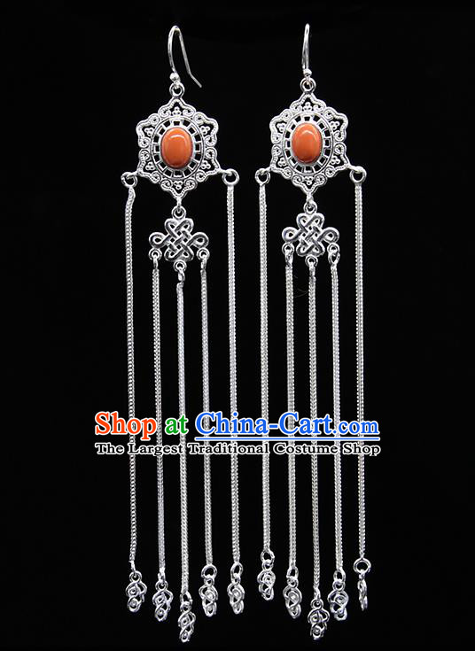 Chinese Traditional Mongolion Ethnic Wedding Sliver Tassel Ear Accessories Mongol Nationality Coral Stone Earrings for Women
